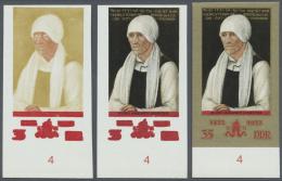 DDR: 1972, Gemälde Von Lucas Cranach D. Ä. 35 Pf. 'Bildnis Margarethe Luther' In 3 Verschiedenen Ungezähn