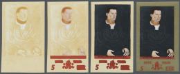 DDR: 1972, Gemälde Von Lucas Cranach D. Ä. 5 Pf. 'Bildnis Eines Jungen Mannes' In 4 Verschiedenen Ungezäh