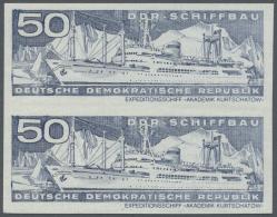 DDR: 1971, Schiffbau 50 Pf. 'Expeditionsschiff Akademik Kurtschatow (5.460 BRT)' Im UNGEZÄHNTEN Senkrechten Paar, P