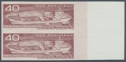 DDR: 1971, Schiffbau 40 Pf. 'Teilcontainer-Frachtmotorschiff Typ 451' Im UNGEZÄHNTEN Senkrechten Paar Vom Rechten B