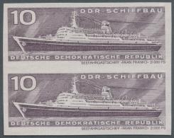 DDR: 1971, Schiffbau 10 Pf. 'Fahrgastschiff Iwan Franko (19.861 BRT)' Im UNGEZÄHNTEN Senkrechten Paar, Postfrisch