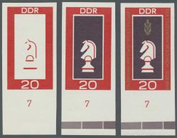 DDR: 1969, Schach-Mannschaftsweltmeisterschaft Der Studenten In Dresden 20 Pf. 'Schachfigur Springer' In 3 Verschiedenen