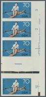 DDR: 1968, Olympische Sommerspiele Mexico 70 Pf. 'Rudern (Einer)' In 4 Verschiedenen Ungezähnten PHASENDRUCK-Vierer