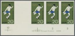 DDR: 1968, Olympische Sommerspiele Mexico 20+10 Pf. 'Fußball' In 4 Verschiedenen Ungezähnten PHASENDRUCK-Vier