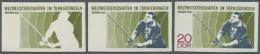 DDR: 1968, Weltmeisterschaften Im Turnierangeln In Güstrow 20 Pf. 'Angler' In 3 Verschiedenen Ungezähnten PHAS