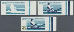 DDR: 1968, Ruder-Europameisterschaften Der Frauen In Berlin 20 Pf. 'Ruderin' In 3 Verschiedenen Ungezähnten PHASEND