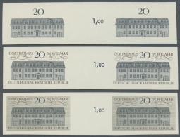 DDR: 1967, Stätten Des Klassischen Deutschen Humanismus 20 Pf. 'Goethehaus In Weimar' In 3 Verschiedenen Ungez&auml