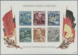 """DDR: 1955, Blockausgabe Friederich Engels Mit Sehr Seltenem Wasserzeichen""""Y I""""in Postfrischer Erhaltung. Originalgummier"""