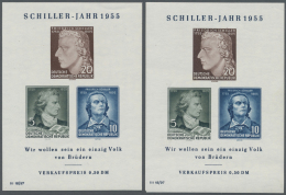 """DDR: 1954/1956. Lot Von 2 Schiller-Blöcken Wz. 2 X I, Einmal Mit PF II """"Zwei Warzen"""", Beide Postfrisch, Dazu Philat"""