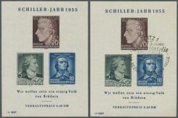 """DDR: 1955, Lot Mit 3 Schiller-Blöcken: 2x Mit Früher Bei Der 5 Pf Zur Fehlfarbe """"schwarzgrünblau"""" Zuordne"""