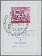 """DDR: 1954. Blockausgabe """"BAG Briefmarkenausstellung"""", Gestempelt, FB Schönherr BPP (2013): """"Der Block Zeigt Die Aba"""