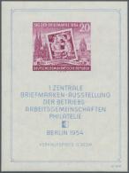 """DDR: 1954, Blockausgabe """"Erste Zentrale Briefmarkenausstellung Der BAG Berlin"""" Auf Scheinbar GERIPPTEM Papier (seltene A"""