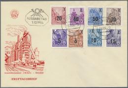 DDR: 1954, Freimarken Fünfjahrplan Mit Neuen Wertaufdrucken Auf Blanco-FDC, Entwertet Mit Tagesstempel Vom Ersttag