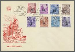 DDR: 1954, Fünfjahresplan, Überdrucksatz Komplett Als FDC, Qualitätsbeleg Dieser Seltenen Ausgabe.