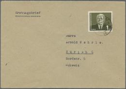 DDR: 1953, Freimarke 1 DM W. Pieck Dunkelbräunlicholiv, Type I Mit Wasserzeichen 2 X I Auf überfrankiertem Aus