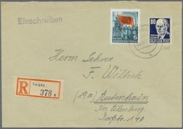 DDR: 1953, 80 Pf Thälmann In MiF Mit 6 Pf Aus Karl Marx-Satz Auf R-Brief Mit Stempel THORGAU 26.8.53 Nach Audenhain