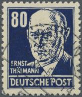 "DDR: 1953, 80 Pf Lackpapier, Ideal Gestempelt ""BERLIN W 15/4/53"" (Sammlerschalter). Plattenfehler: 3 Punkte über Li"