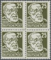 DDR: 1952, 25 Pfg. Köpfe II Im Postfrischen Viererblock Je Tiefst Geprüft Schönherr BPP. Eine Marke Winzi