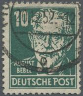 DDR: 1952: 10 Pfg. Bebel, Gewöhnliches Papier, Mit Wz. In Type I, Kabinettstück Dieser Großen Seltenheit