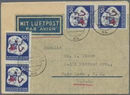DDR: 1951, 50 Pfg. Weltfestspiele Der Jugend, Zwei Senkrechte Paare Auf Vordruck-Luftpostfaltbrief (wie Ein Aerogramm) A