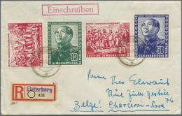 """DDR: 1951. R-Brief Mit Kpl. Chinesen + Extra 1x 24 Pf Von """"Elsterberg"""" Portorichtig Nach Belgien."""