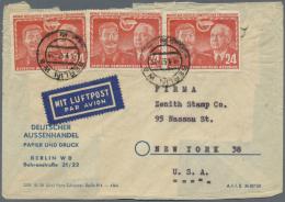DDR: 1951, Deutsch Sowjet. Freundschaft 5x 12 Pf Und 5x 24 Pf Sowie Köpfe 10 Pf (ges. 1.80 Mark) Auf LuPo-Brief Von