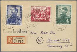 """DDR: 1951, Deutsch-Chinesische Freundschaft, 3 Werte Komplett Auf R-Brief Ab """"(10 B) CHEMNITZ 8 H 27.6.50.- 16"""" Nach Fra"""