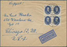 DDR: 1950, 50 Pfg. Akademie Im Sauber Gestempelte Viererblock Auf Luftpostbrief Ab BERLIN N 106 Nach USA. Der Brief Ist