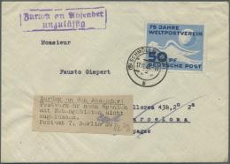 """DDR: 1949, 50 Pfg. UPU Als Portogerechte Einzelfrankatur Auf Auslandsbrief Aus """"SCHMÖLN 17.11.49"""" Nach Barcelona Mi"""