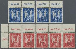 """DDR: 1950, Postgewerkschaft 12 Pf Mit PLATTENFEHLER """"Kerbe Am Rechten Oberen Bildrand Und Punkt Am ´R´ Von &"""