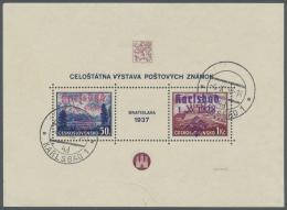 Sudetenland - Karlsbad: 1938, Bratislava-Block Gestempelt, Rosa Aufdruck Etwas Verlaufen Und Im Unterrand Mit Kleinem Kn