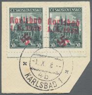 """Sudetenland - Karlsbad: 1938, 50 H. Kaschau Im Waagerechten Unterrandpaar Mit Ersttagsstempel """"KARLSBAD 4 B 4.X.38"""" Auf"""
