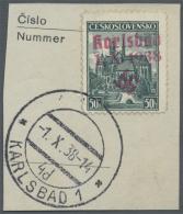 """Sudetenland - Karlsbad: 1938, 50 H. Kaschau Mit Ersttagsstempel """"KARLSBAD 4d 4.X.38"""" Auf Briefstück, Pracht, Signie"""