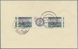 Sudetenland - Karlsbad: 1938, 50 H. Im Waagerechten Zwischenstegpaar Mit überdrucktem Zierfeld Auf Kabinett-Briefst