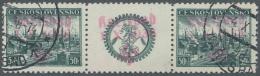 Sudetenland - Karlsbad: 1938, 50 H. Pilsen Im Waagerechten Zwischenstegpaar Mit überdrucktem Zierfeld, Gestempelt,
