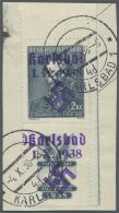 """Sudetenland - Karlsbad: 1938, 2 Kc. Fügner Mit überdrucktem Zierfeld Unten, Randstück Mit Stempel """"KARLSB"""