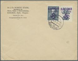 """Sudetenland - Karlsbad: 1938, 2 Kc. Fügner Mit überdrucktem Zierfeld Rechts Mit Stempel """"KARLSBAD 4d 4.X.38"""" A"""