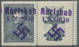 Sudetenland - Karlsbad: 1938, 2 Kc. Fügner Mit überdrucktem Zierfeld Rechts, Postfrisch, Pracht, Signiert Mahr
