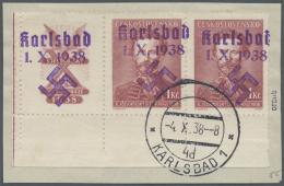 Sudetenland - Karlsbad: 1938, 1 Kc. Fügner Im Waagerechten Paar Aus Der Linken Unteren Bogenecke Mit überdruck