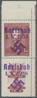 Sudetenland - Karlsbad: 1938, 1 Kc. Fügner Mit überdrucktem Zierfeld Unten Aus Der Rechten Oberen Bogenecke, U