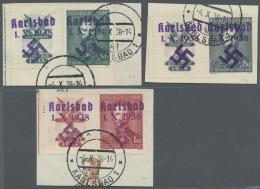 Sudetenland - Karlsbad: 1938, 50 H. Bis 2 Kc. Fügner Je Mit überdrucktem Zierfeld Links, Kompletter Satz Auf D