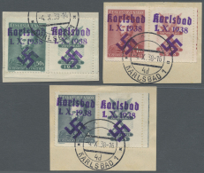 Sudetenland - Karlsbad: 1938, 50 H. Bis 2 Kc. Fügner Je Mit überdrucktem Zierfeld Rechts, Kompletter Satz Auf