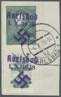 """Sudetenland - Karlsbad: 1938, 50 H. Fügner Mit überdrucktem Zierfeld Unten, Randstück Mit Stempel """"KARLSB"""