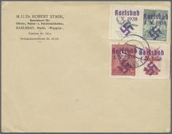 Sudetenland - Karlsbad: 1938, 50 H. Doss Alto Mit überdrucktem Zierfeld Links Und 1 Kc. Fügner Mit überdr