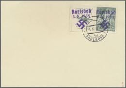 """Sudetenland - Karlsbad: 1938, 50 H. Doss Alto Mit überdrucktem Zierfeld Links, Randstück Mit Stempel """"KARLSBAD"""
