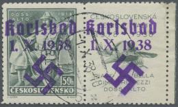 Sudetenland - Karlsbad: 1938, 50 H. Doss Alto Mit überdrucktem Zierfeld Rechts, Randstück Mit Ersttagsstempel