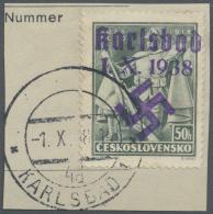 """Sudetenland - Karlsbad: 1938, 50 H. Doss Altos Mit Handstempel Auf Kabinett-Briefstück Mit Ersttagsstempel """"KARLSBA"""