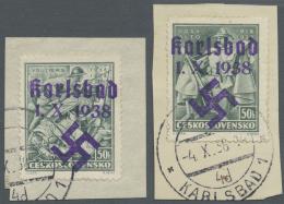 Sudetenland - Karlsbad: 1938, 50 H. Vouzier Und 50 H. DossAltos Auf Zwei Briefstücken, Kabinett, Signiert Dr. Dub U
