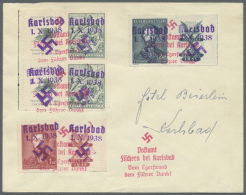 Sudetenland - Karlsbad: 1938, 50 H. Vouziers Im Senkrechten Paar Mit Zierfeldern Links Sowie 1 Kc. Und 2 Kc. Fügner