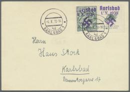"""Sudetenland - Karlsbad: 1938, 50 H. Vouzers Mit überdrucktem Zierfeld Rechts, Randstück Mit Stempel """"KARLSBAD"""